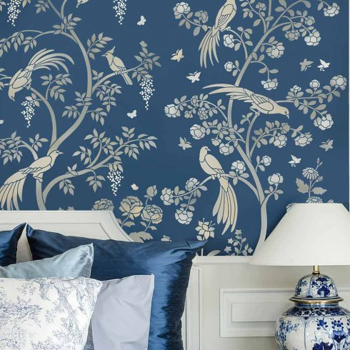 Birds and Roses Chinoiserie Wall Mural Stencil Better than