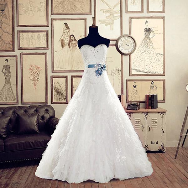 Long cheap wedding dress,Sweetheart wedding dress,lace up wedding ...