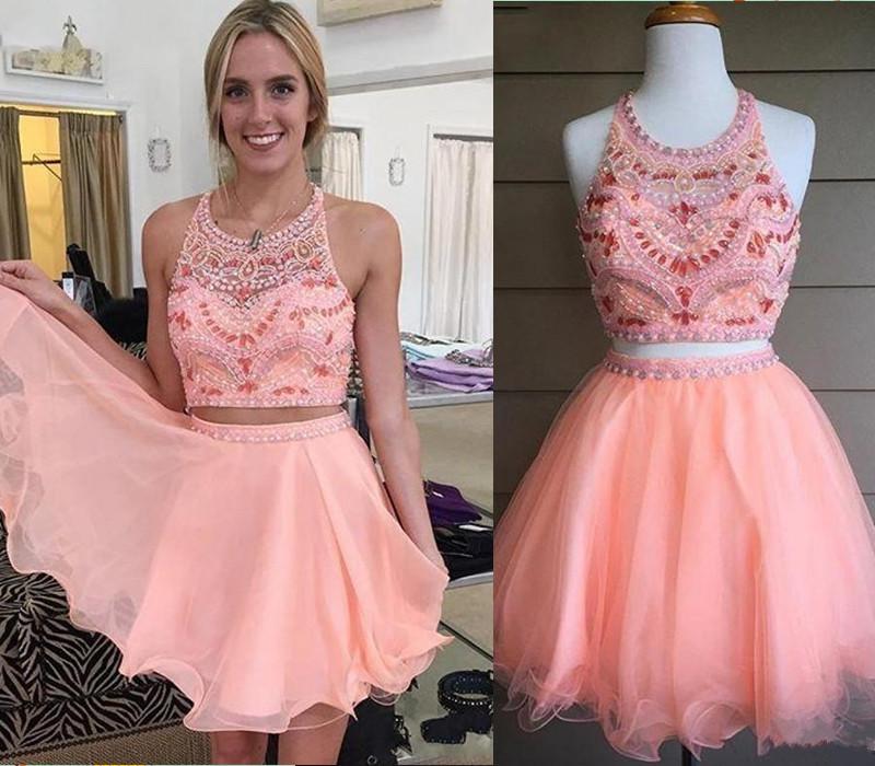 1b76dfa203 Blush Pink Homecoming Dress,2 Piece Homecoming Dresses,Silver Beading  Homecoming Gowns,Short Prom Gown,Blush Pink Sweet 16 Dress,Homecoming Dress