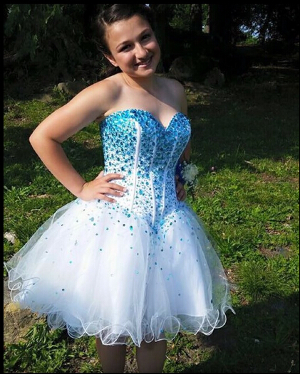 discount price sports shoes 2019 clearance sale White Homecoming Dress,Sparkle Homecoming Dresses,Glitter Homecoming  Gowns,Short Prom Gown,Sweet 16 Dress,Blue Beading Homecoming Dresses