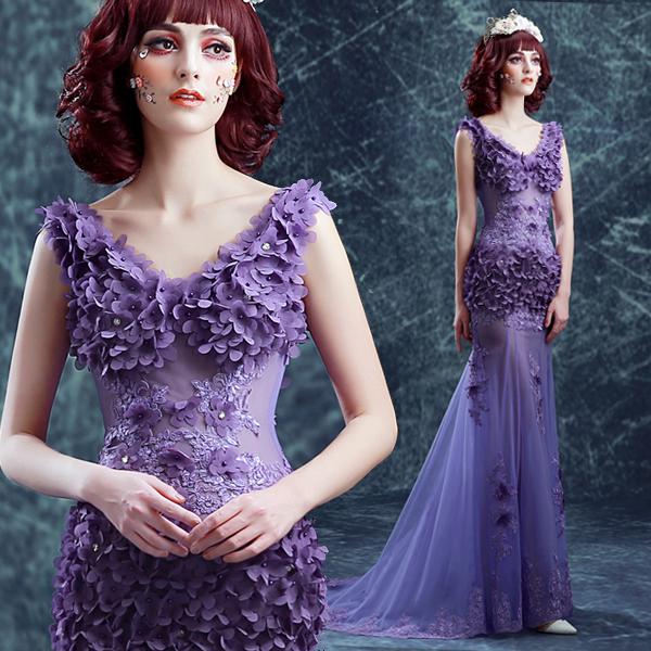 J46 Vestidos Sweet Purple Lace Flower Fishtail Evening Dress