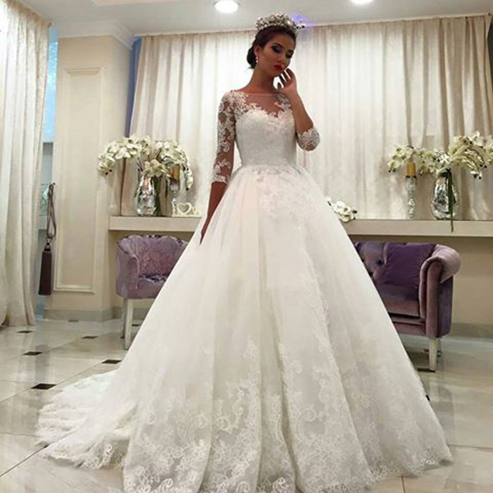 Charming A Line Half Sleeve Lace Wedding Dresses, Long Vintage ...