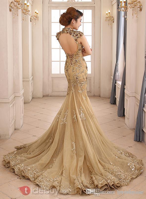 Gold Applique Wedding Dress Evening Dress Bridal Gown PD46 on Storenvy