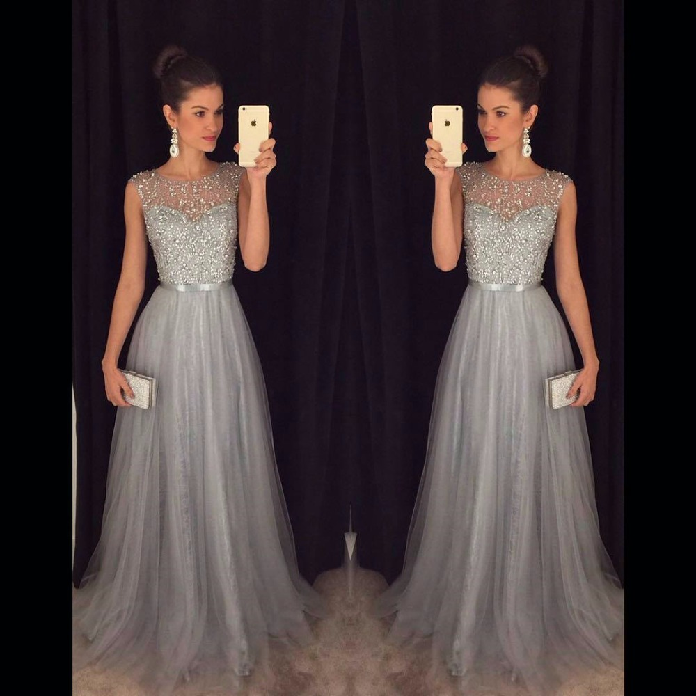 Gray Tulle Prom Dresses Beaded Sequins Sheer Scoop A-line Long Prom ...