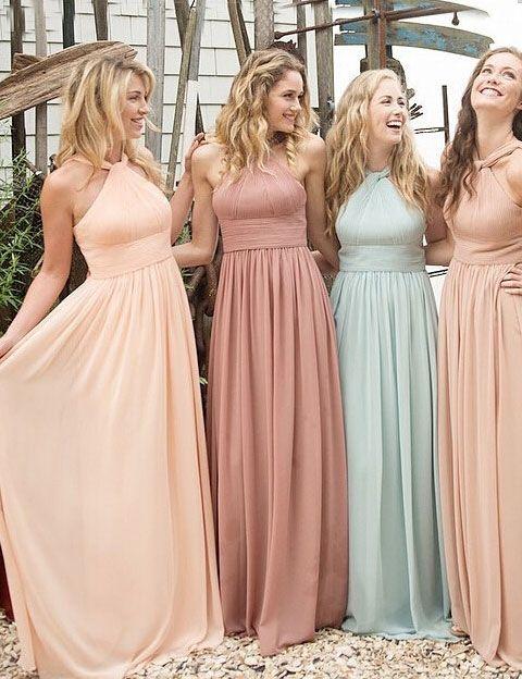 1021d0822f Halter Chiffon bridesmaid dress