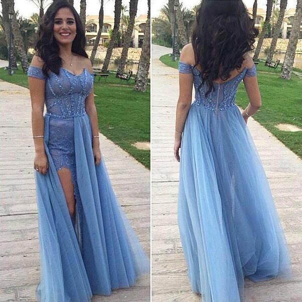 Blue prom dress, long prom dress, elegant