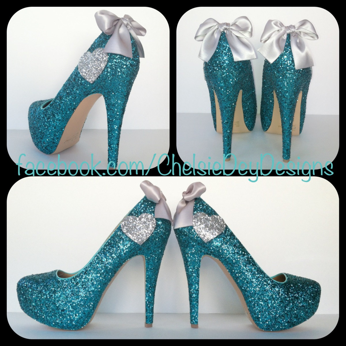 Teal Glitter High Heels - Aqua Turquoise Blue Pumps - Silver Hearts -  Sparkly Wedding Shoes 3980f992a6d3