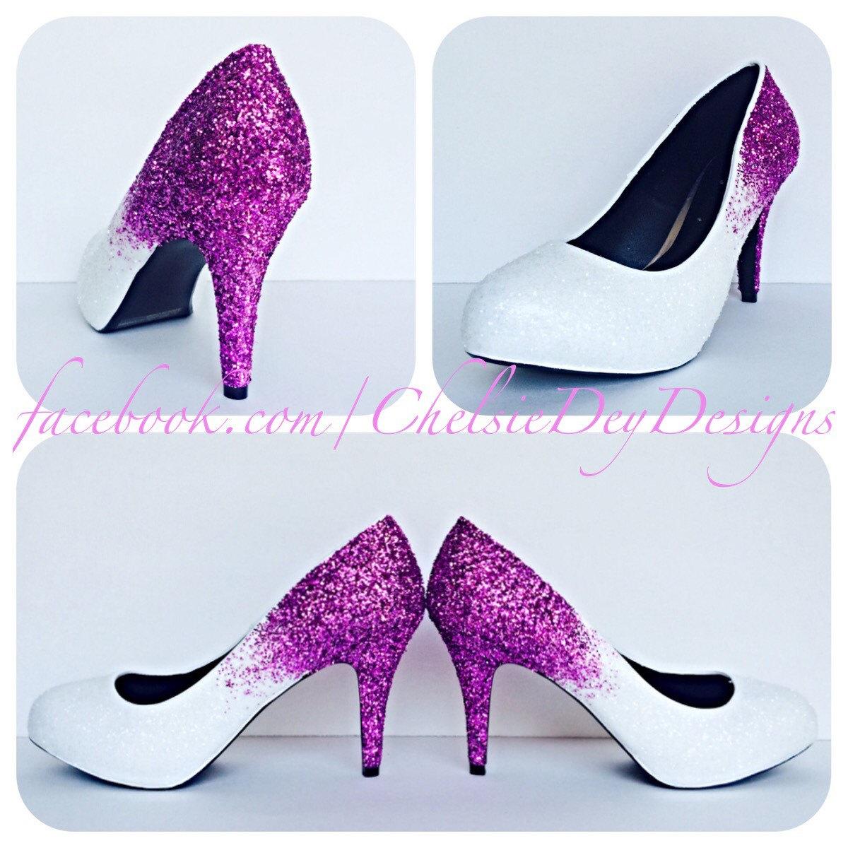 Fuschia Low Heel Wedding Shoes: Hot Pink Glitter High Heels, Fuschia Magenta Platform