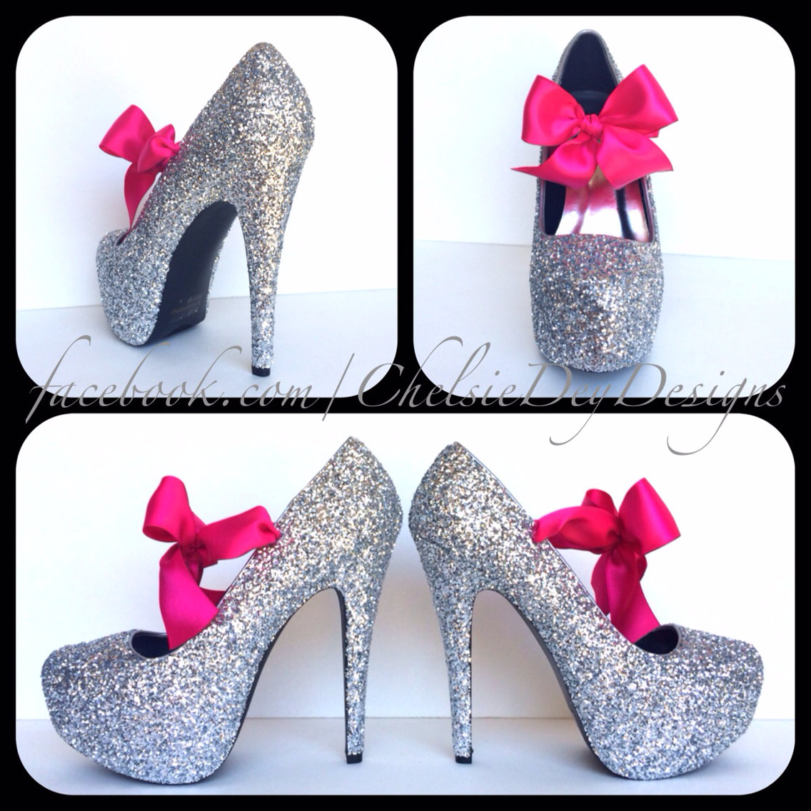 Silver Glitter High Heels, Gray Platform Pumps, Prom Shoes ...