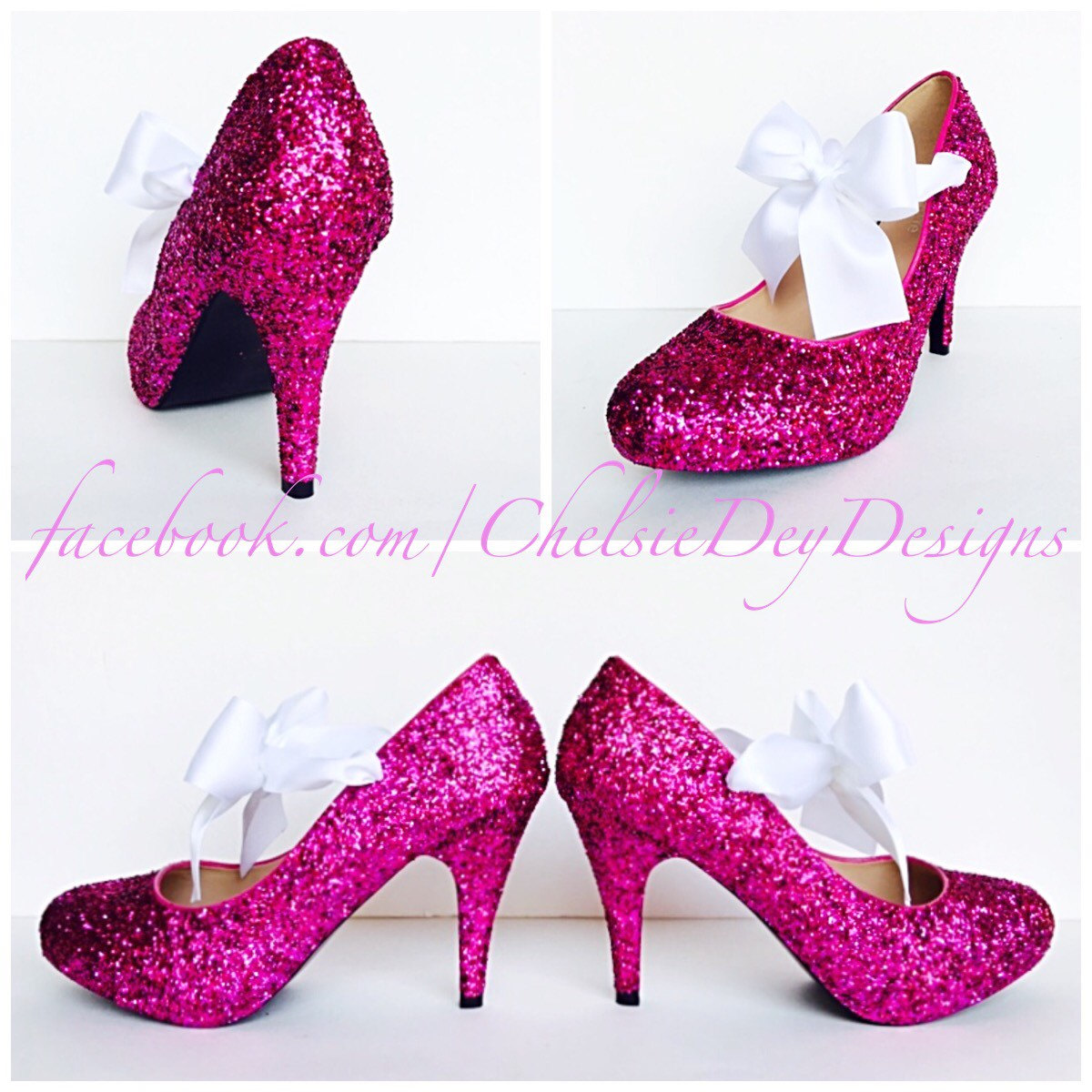 1f7744c6f5f2 Glitter High Heels - Hot Pink Pumps - Sparkly Platform Shoes - White ...