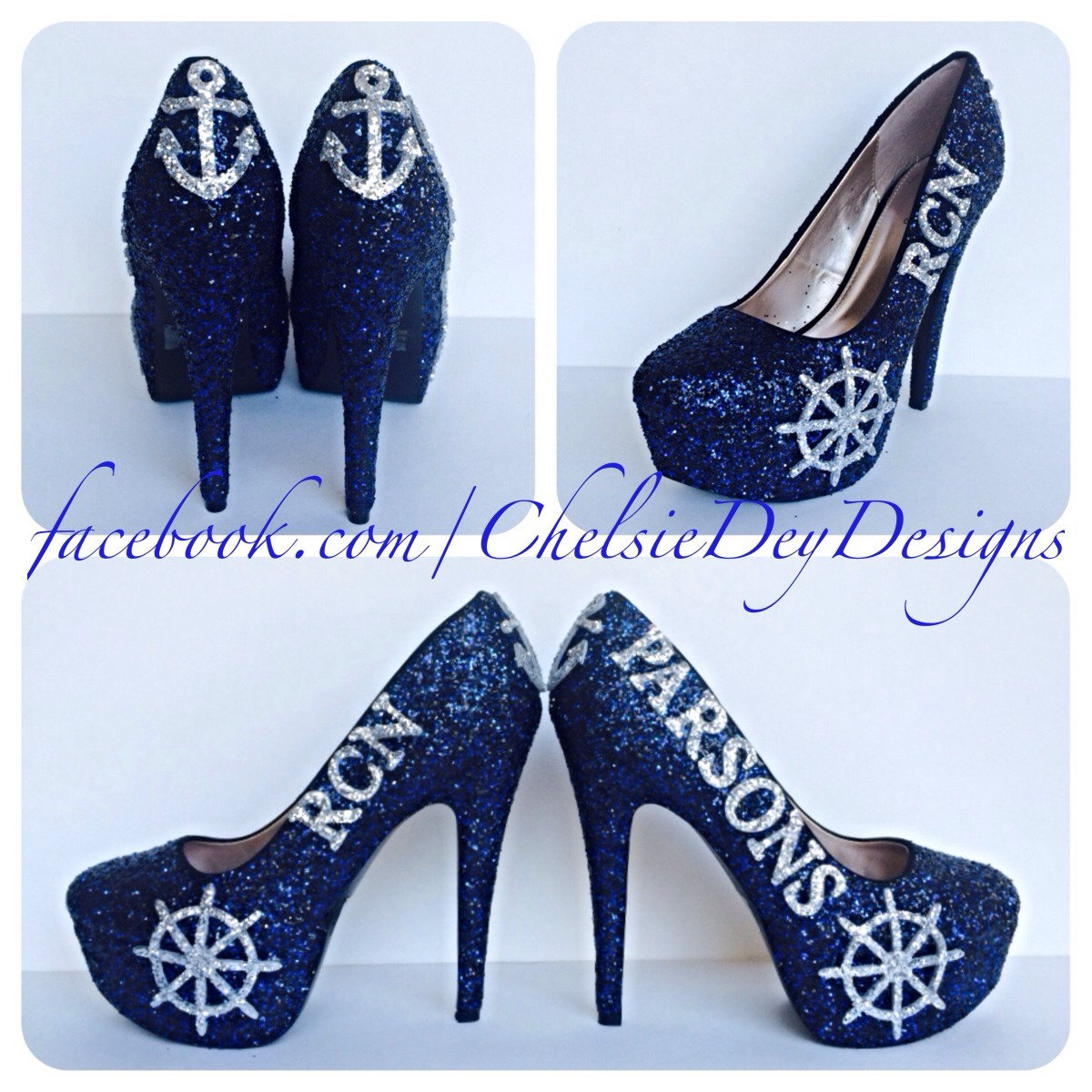 3ae8affe828c Navy Glitter High Heels - Dark Blue Military RCN Pumps - Silver Wheel and  Anchor Heels
