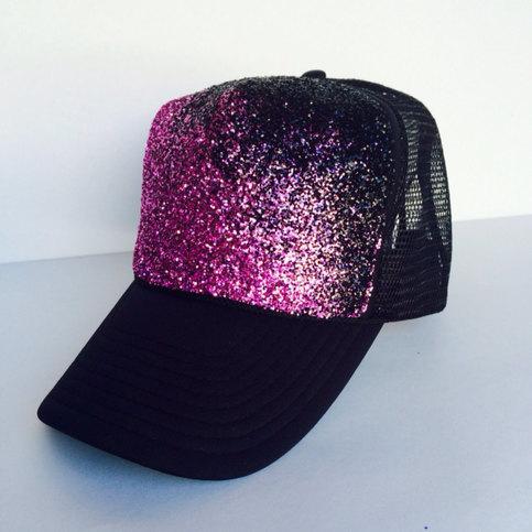 Black Amp Pink Glitter Hat Hot Pink Magenta Ombre Glitter