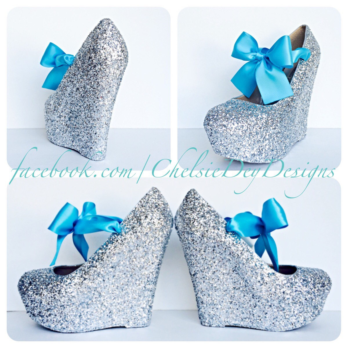 98e740b1ca2 Glitter Wedge Heels - Silver Platform Shoes - Turquoise Teal Blue Satin Bows