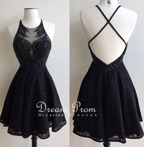 369f6c43585 Stylish black lace beading short prom dress