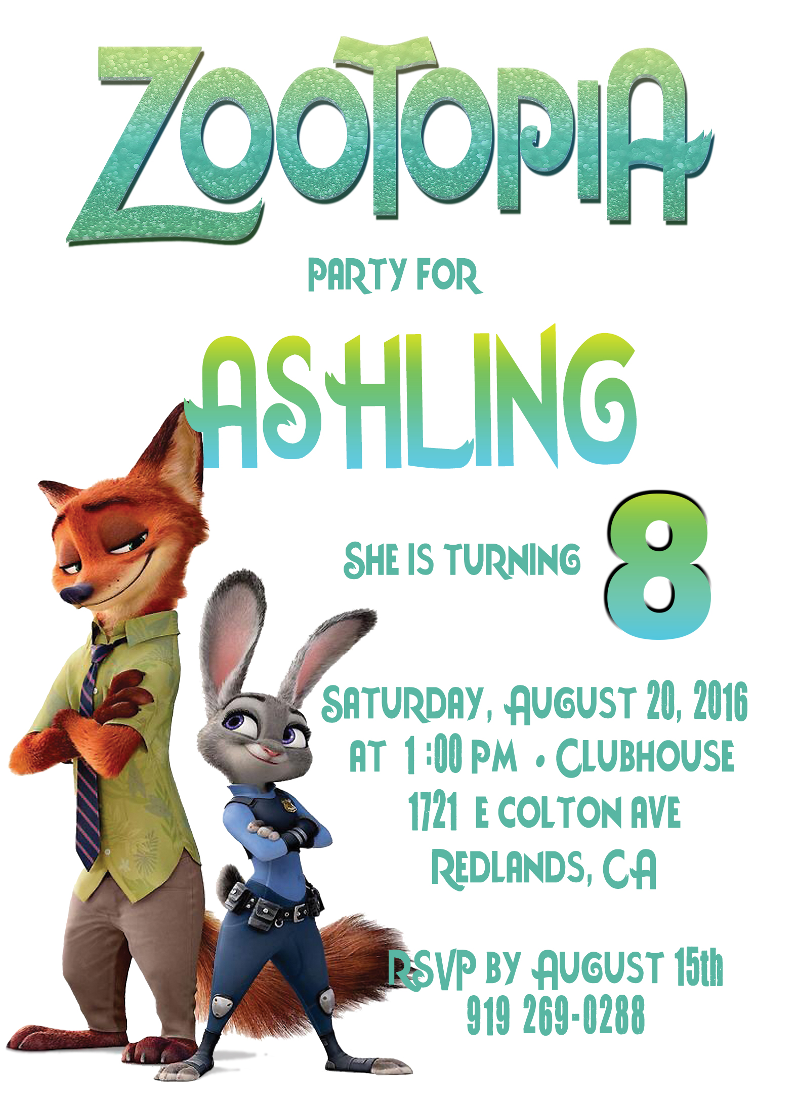 Zootopia Personalized Birthday Invitation 1 Sided, Birthday Card ...