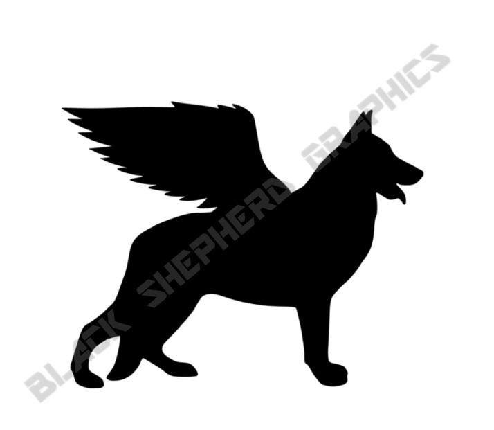 Shepherd Gold On Blue Silhouette Ornament: German Shepherd Angel Decal Black Shepherd Graphics Online
