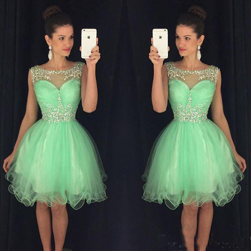 Green Tulle Homecoming Dresses See Through Homecoming Dresses