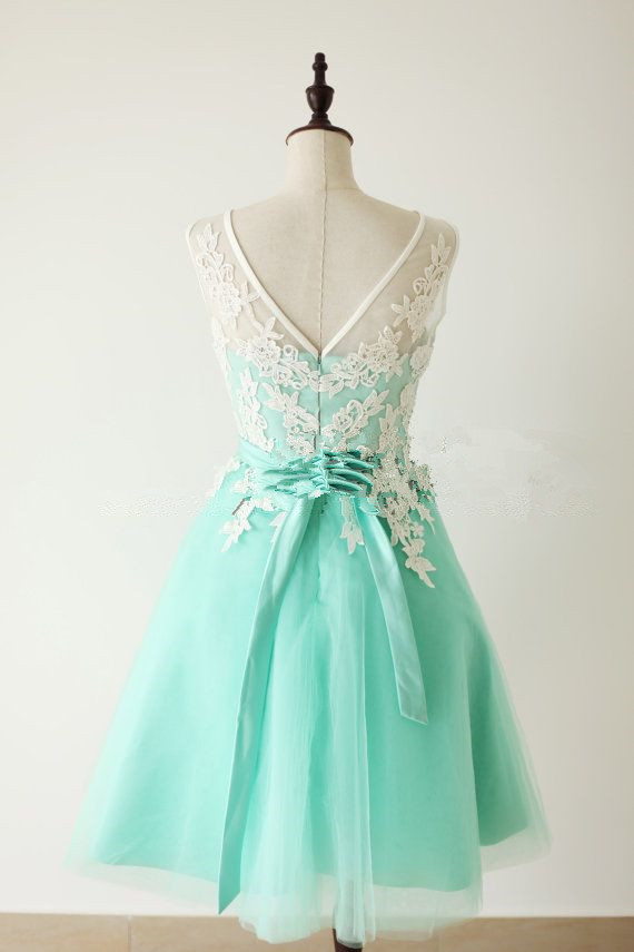 Lace Homecoming Dress,Lace Prom Dress,Cute Homecoming Dress,Mint ...