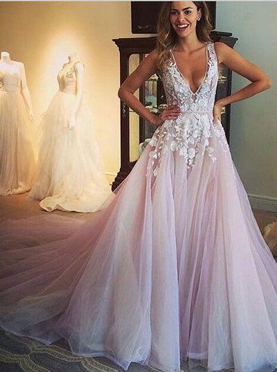 V Neck Prom Dresses Pale Pink Tulle Prom Dresses Lace Prom Dresses Ball Gown Dresses For Prom 2016 Prom Dressespd190275 From Focusdress