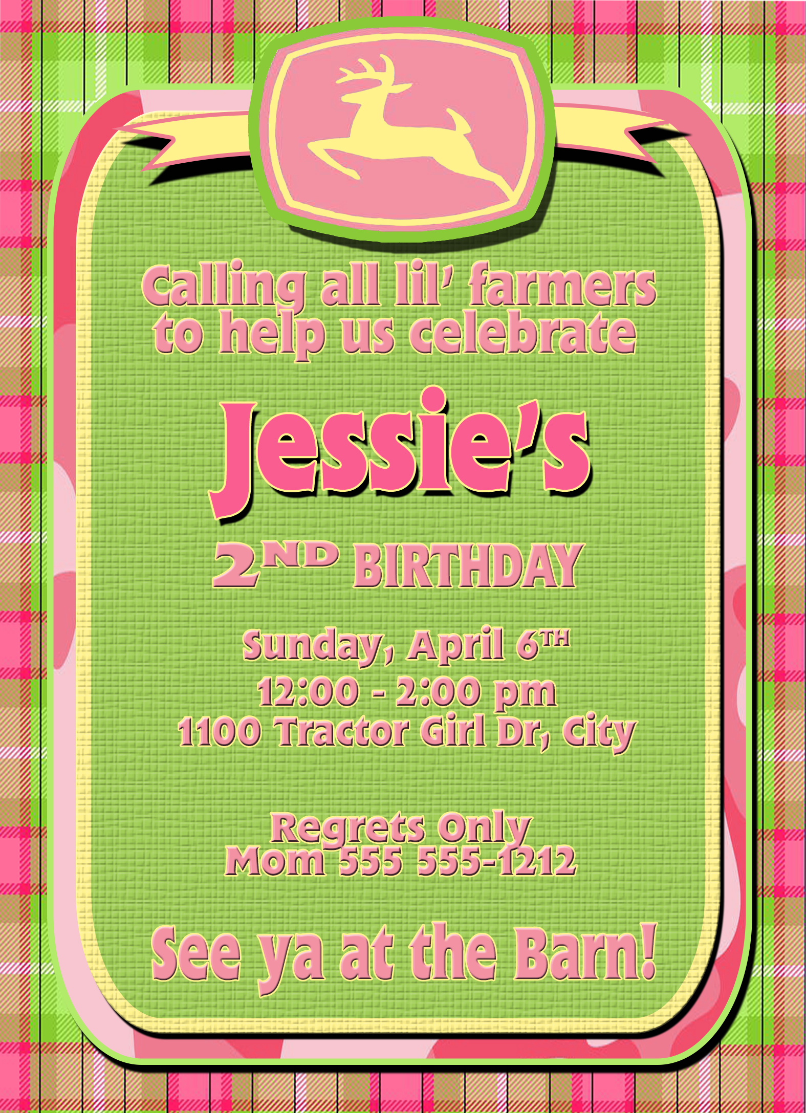 John Deere Tractor Girl Personalized Birthday Invitation 2 Sided Card Party