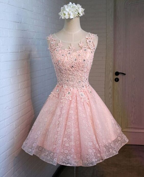 12761753fe70 Pink Lace Homecoming Dresses, A-Line Homecoming Dresses, Cute Homecoming  Dresses, Juniors