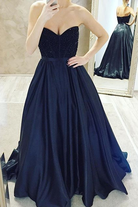 Dark Navy Ball Gown Prom Dresses Long Prom Dresses Cheap