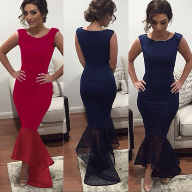 New Arrival Navy Blue Long Evening Dresses Chiffon Square Mermaid ...