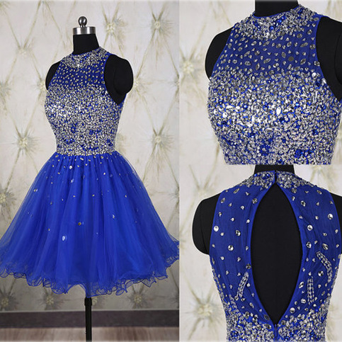 Hot Sales Rhinestones Royal Blue Short Prom Gown ...
