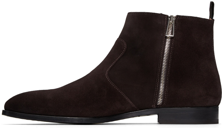 Handmade men dark brown side zip ankle boot, Men genuine suede ankle boot  from Rangoli Collection