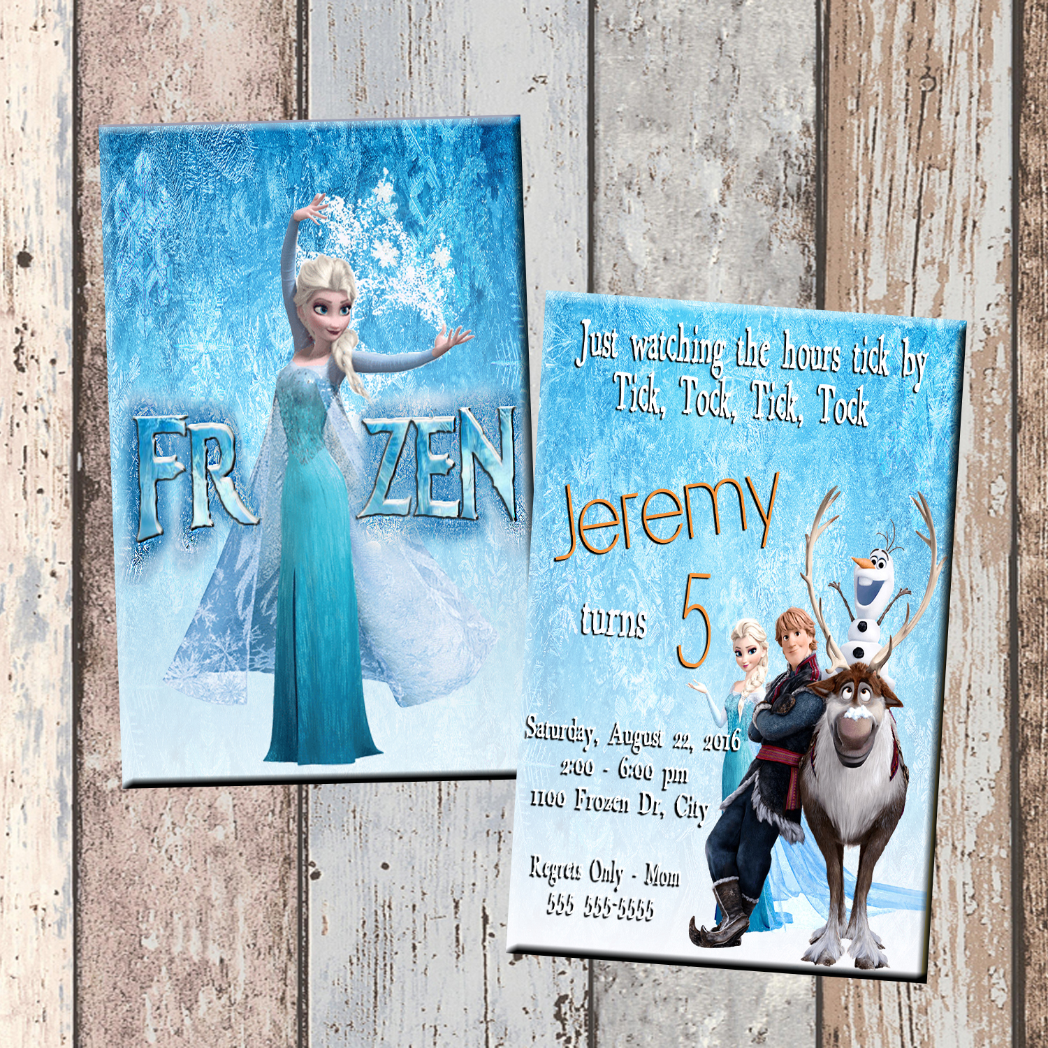 Frozen Personalized Birthday Invitation 2 Sided Card Party