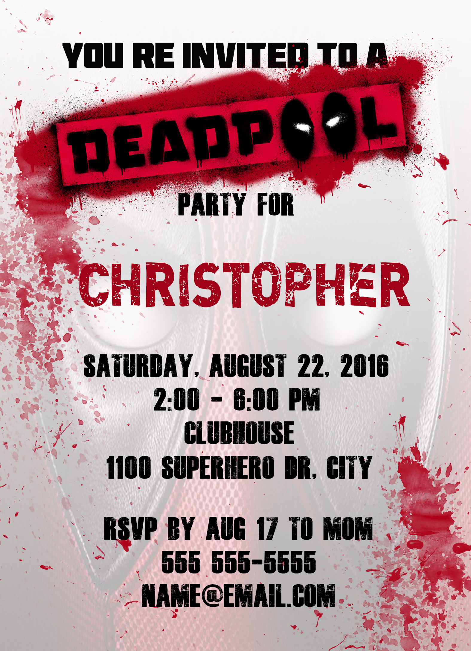Deadpool Superhero Personalized Birthday Invitation 2 Sided ...