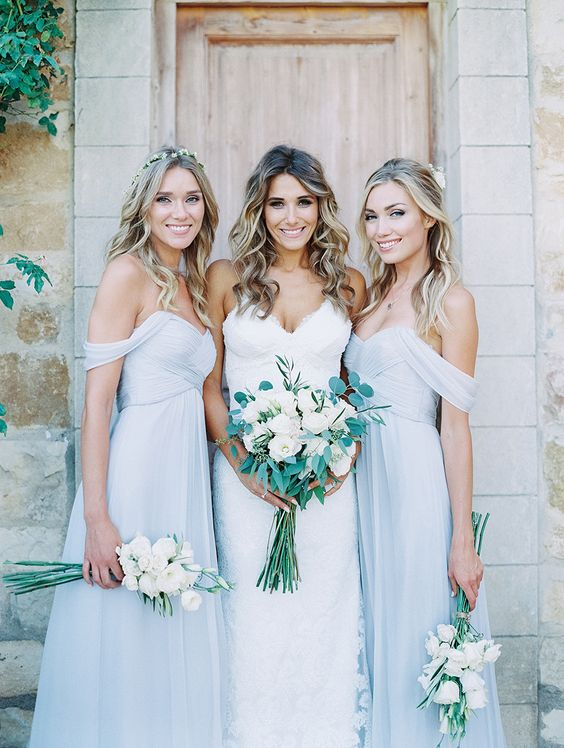 Long Bridesmaid Dress Light Blue Bridesmaid Dresses Off Shoulder