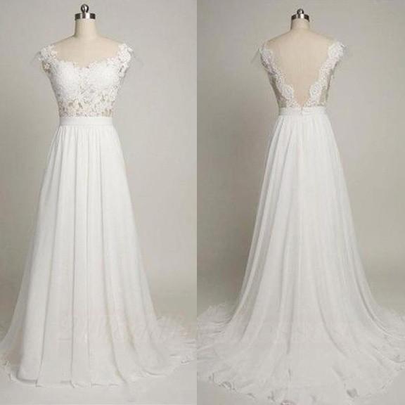 White Simple Wedding Dresses,Long Wedding Dresses,Lace Bridal Gowns ...