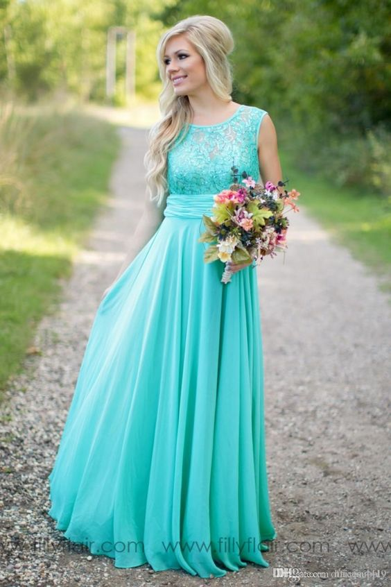 9cdeeea2521 Bridesmaid Dresses Turquoise Lace Bodice Chiffon Long bRidesmaid ...