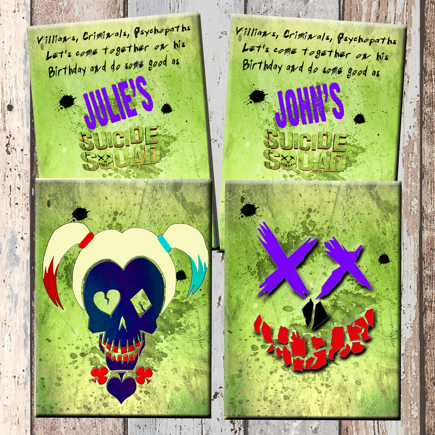Suicide Squad Superhero Personalized Birthday Invitation 2 Sided Card Party