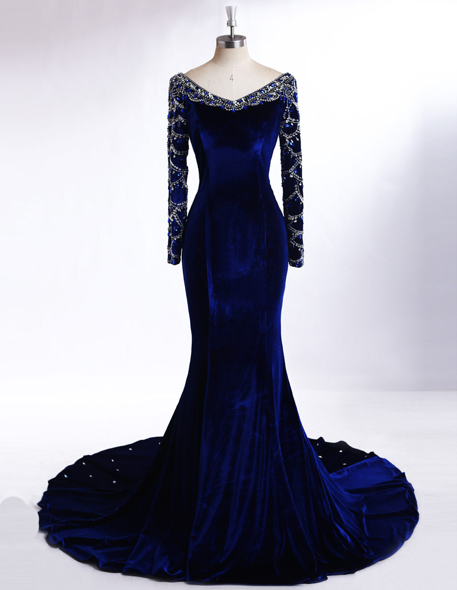 Noble Royal Blue Velvet Evening Dresses With Long Sleeve Real Photos ...