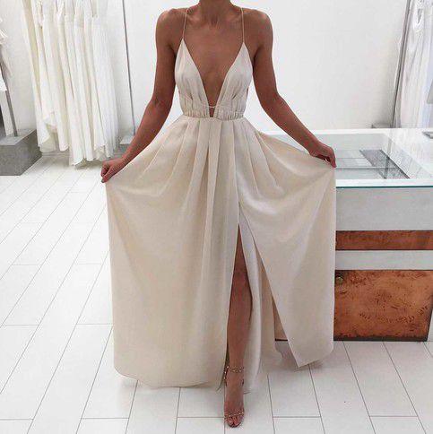 White V-neck backless long prom dress,evening dress,simple formal ...