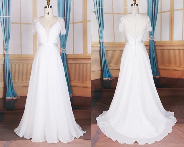 Elegant Wedding Dressdeep V Neckline Bridal Gownchiffon Wedding