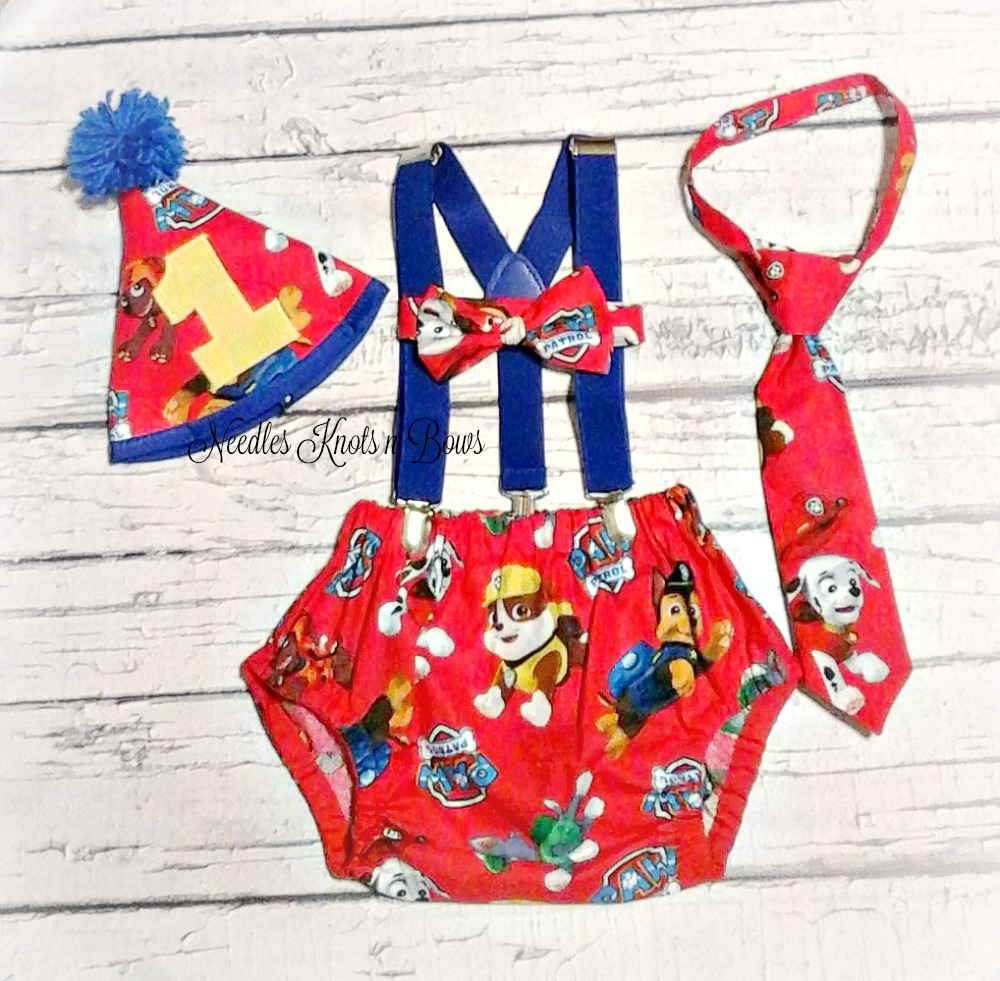 Boys Paw Patrol Cake Smash Set Diaper Cover Suspenders Tie Or Bowtie First Birthday Photo Shoot Outfit On Storenvy