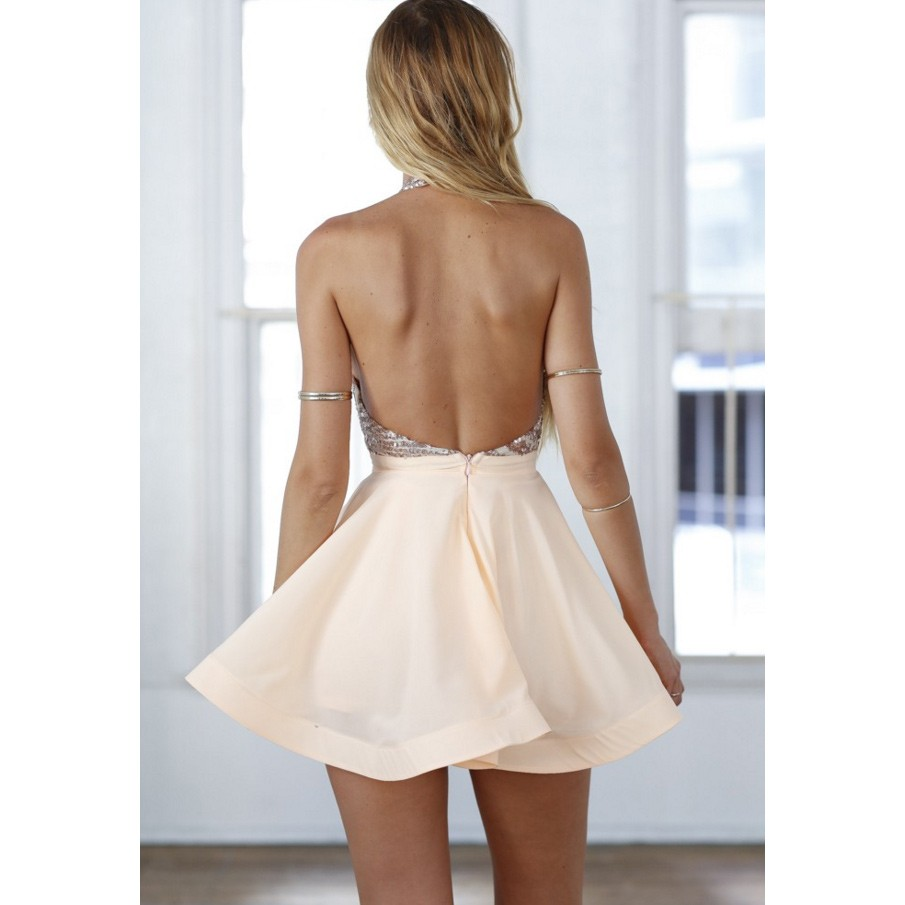 Sexy Halter Short Rose Gold Sparkly Homecoming Dress Cocktail Dress under  100 - Thumbnail 1 ... 10b7af657
