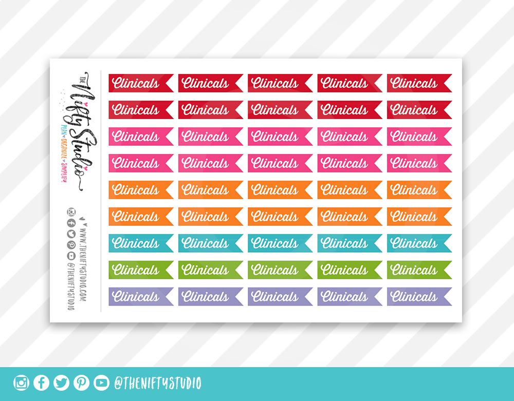 Clinicals College Planner Stickers The Nifty Studio Nursing