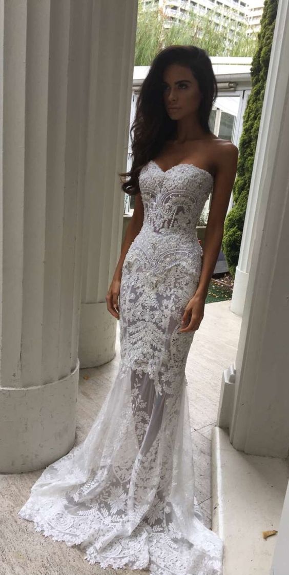 Charming White Lace Wedding Dresssexy Sweetheart Bridal Dresssexy