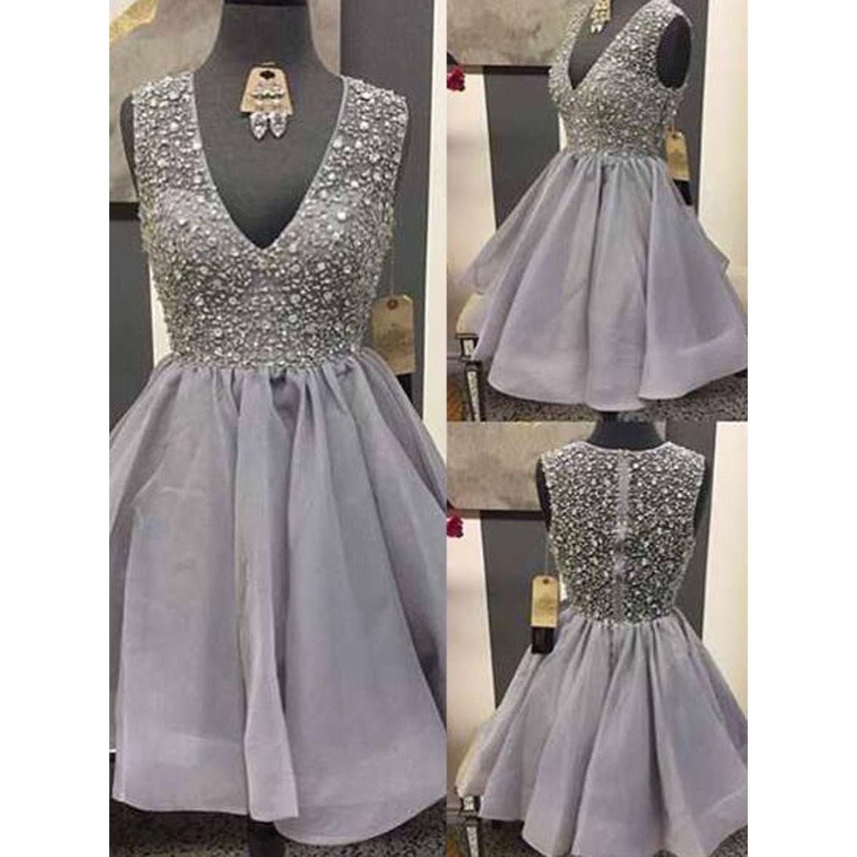 f84a64e571b V-neck Organza Homecoming Dresses