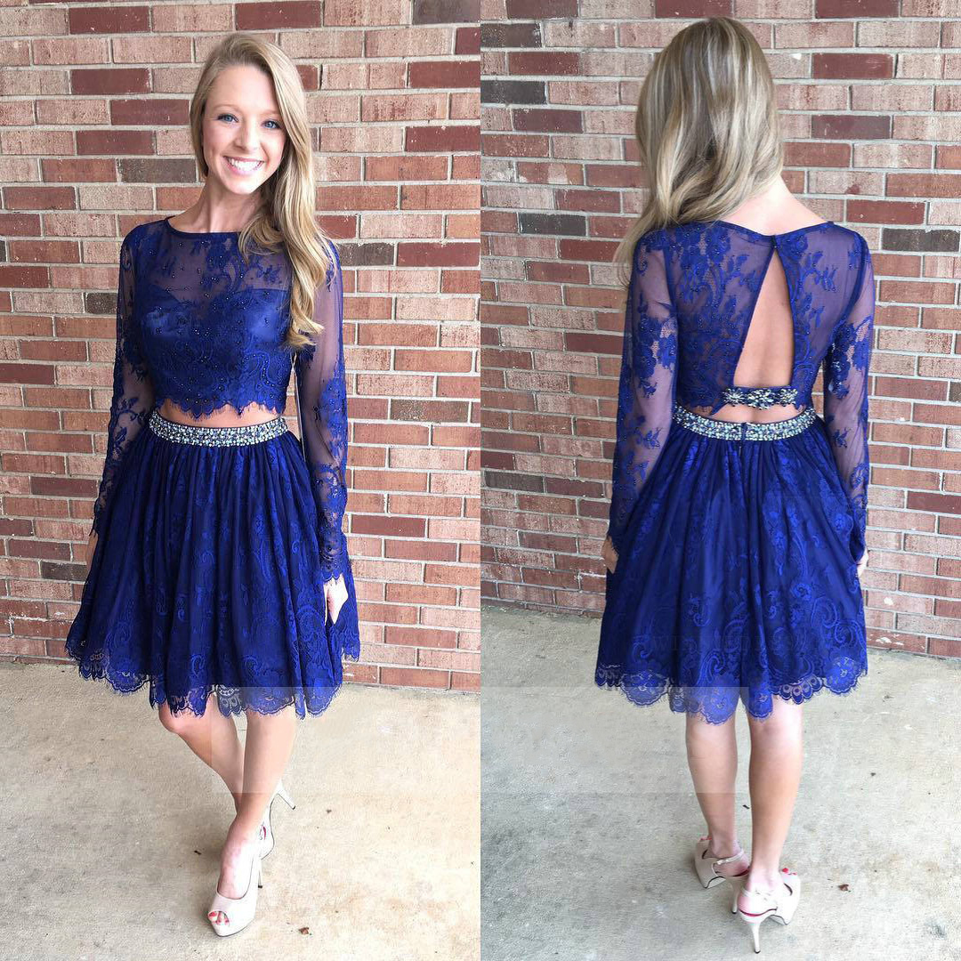 Two Piece Blue Homecoming Dresses Long Sleeve Lace Homecoming