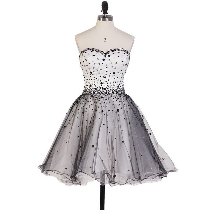 bf308139 Beautiful Princess Sweetheart Homecoming Dresses, Black and White Homecoming  Dresses with Sparkly Beads, Short