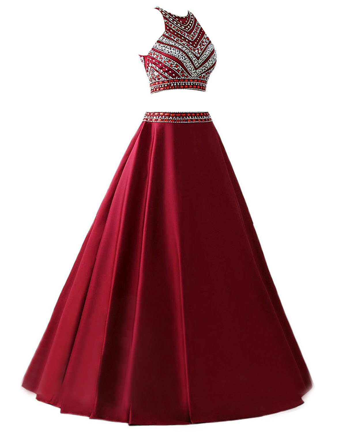 burgundy Prom Dress,Long Prom Dresses,2 pieces Prom Dresses,2 piece ...