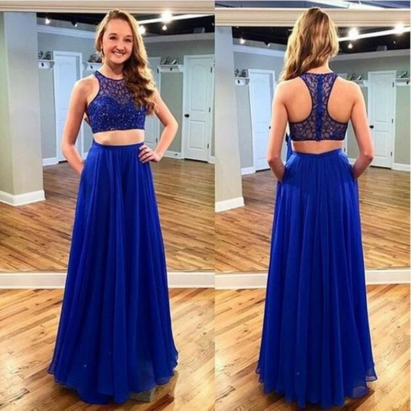 Modern Scoop Prom Dressbeading Two Pieces Evening Dress Royal Blue