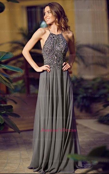 Prom Dress Sexy Grey Crew Beads Rhinestones Chiffon Long Prom
