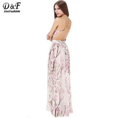 12b4ea6c94f0 Dotfashion 2016 summer fashion women dresses sexy elegant party spaghetti  strap backless floral print maxi dress