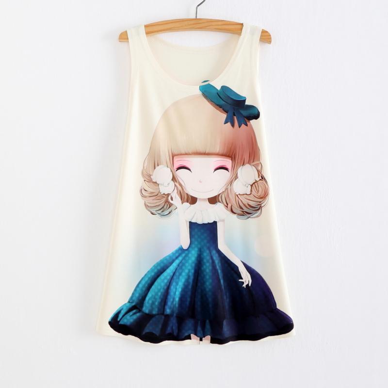 1ce5cc27df9 ... Tank Tops Summer tees Women Dress girl Print Sleeveless T shirt Casual  Women Clothing - Thumbnail ...